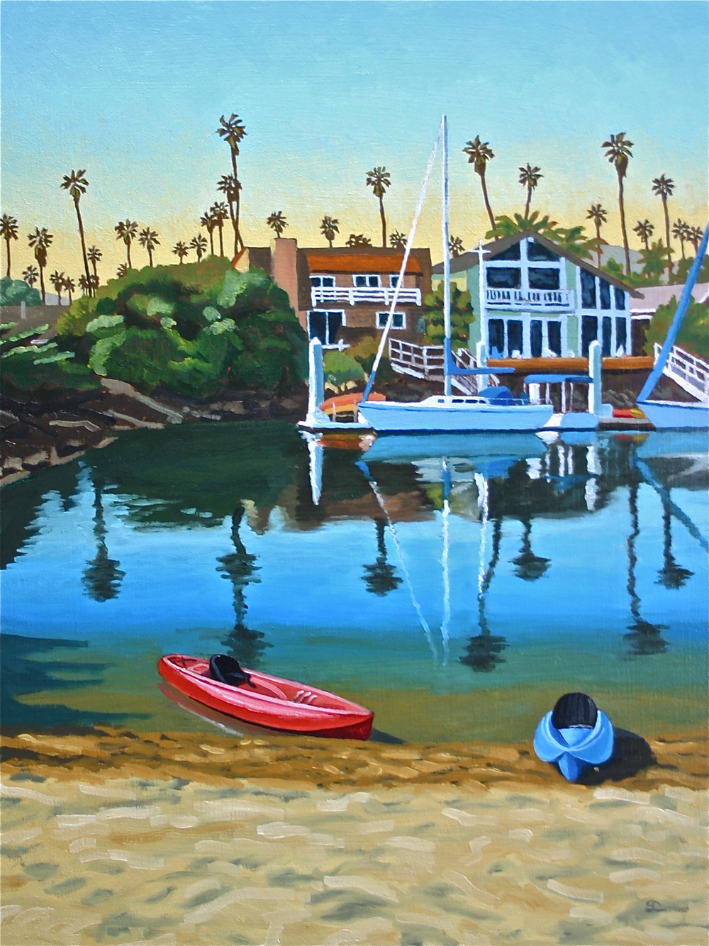 """After Paddling, Little Beach"" oil on canvas 24 x 32"