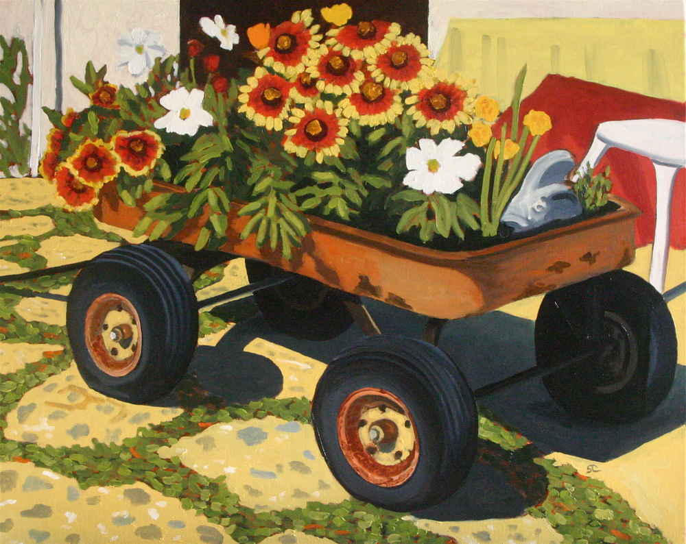 """Flowers and Rust, Too"" oil on canvas 24 x 30"
