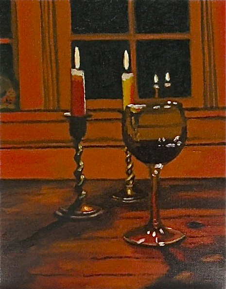 """Last Glass of Red"" oil on linen panel 8 x 10"