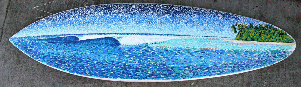 """Vaadhoo"" paint pens on surfboard  sold"