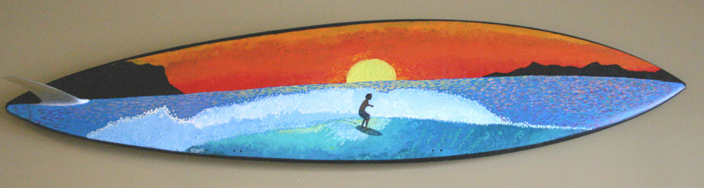 Sunset Surfer  acrylic on surfboard  sold