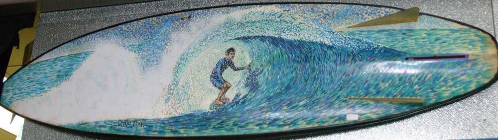"""Tavarua Bonzer"" paint pens on surfboard  sold"