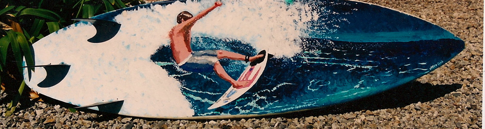 """Kai Ellison Cutback"" acrylic on surfboard  sold"