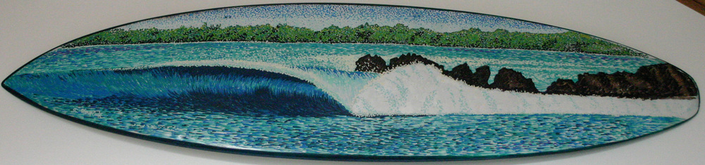 """Indo Righthander"" paint pens on surfboard   sold"