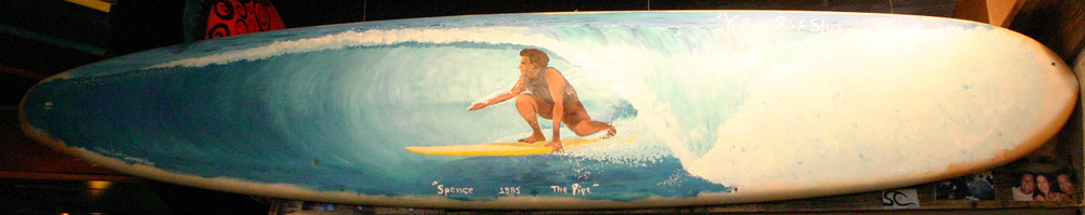 """Backside Tube Ride"" acrylic on surfboard   sold"