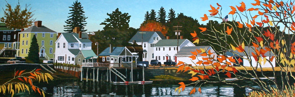 """Portsmouth Autumn"" oil on panel 16 x 48  SOLD"