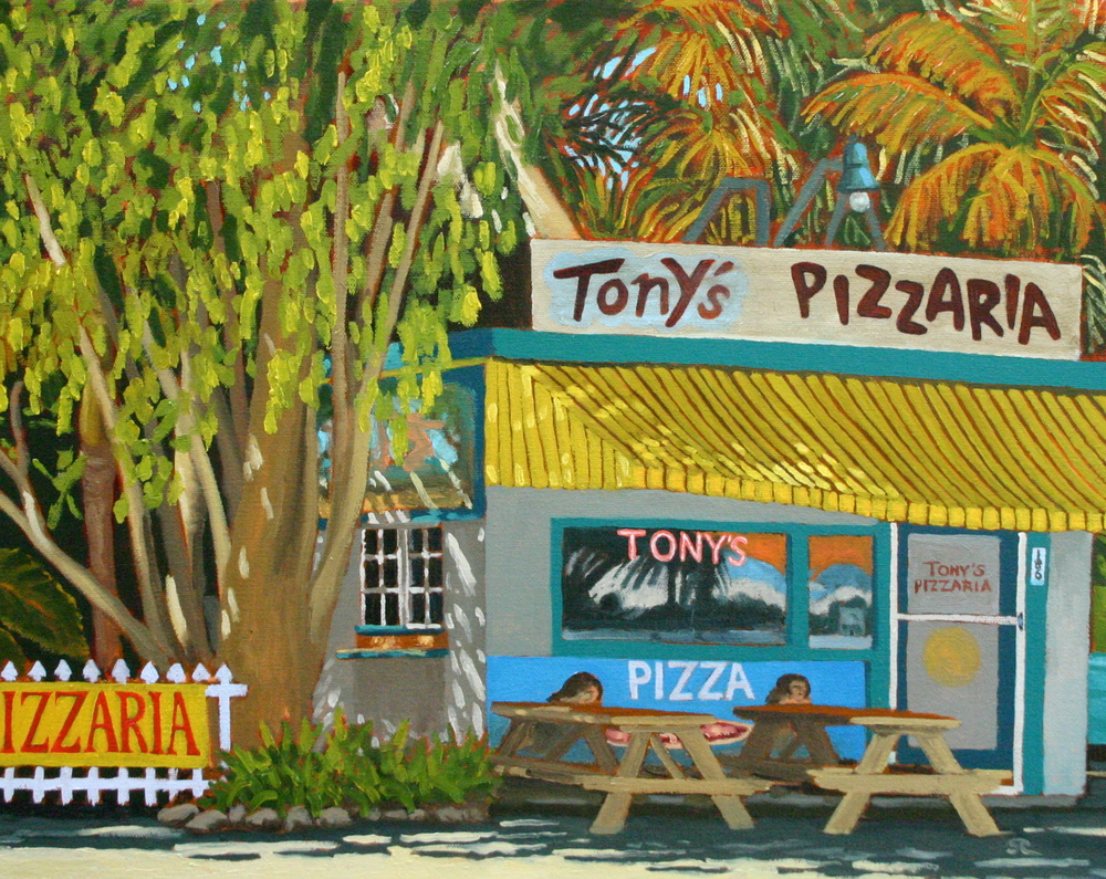 """Tony's Pizza"" oil on panel 16 x 20  sold"