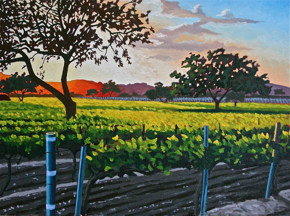 """Los Olivos Sunset"" oil on canvas 24 x 30"