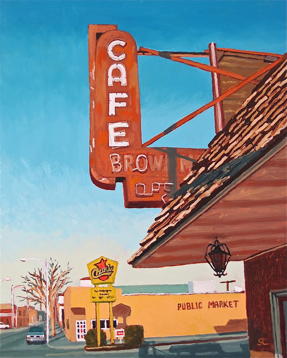 """Brown Mug Cafe, Winslow, AZ"" oil on panel 16 x 20"