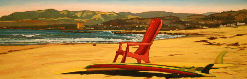 """Red Chair Looking North""  oil on canvas 12 x 36   sold"