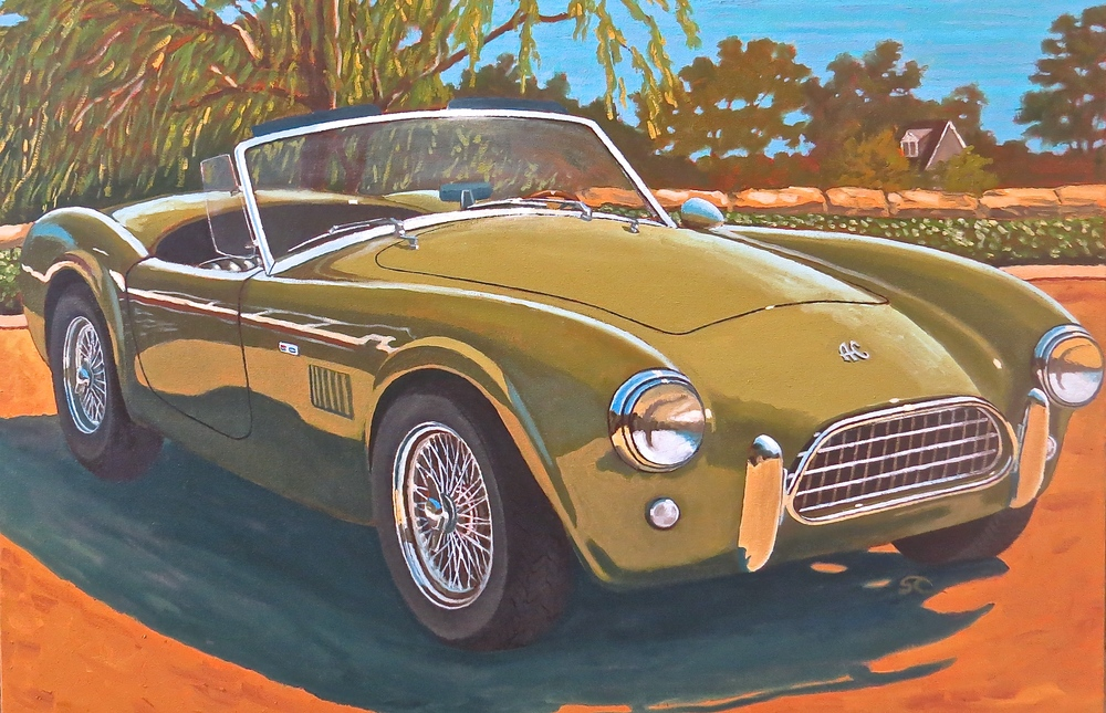 """Green Slab Side Cobra"" oil on canvas 24 x 36, commissioned piece"