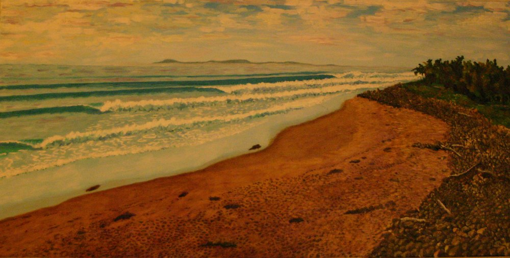 Rincon Low Tide   oil on canvas 24  x 48