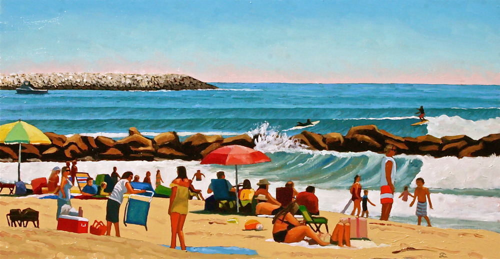 Summer Day at Pierpont   oil on panel 16  x 30