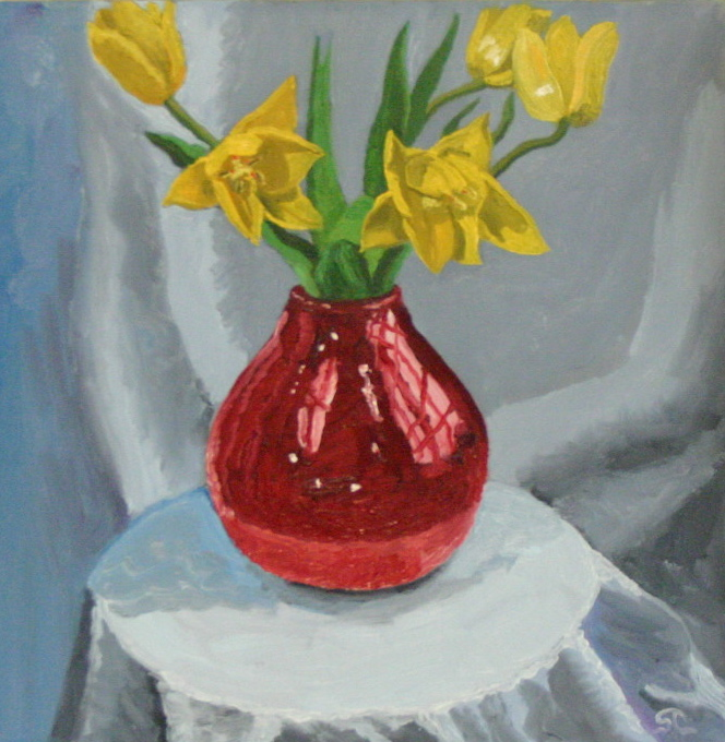 Yellow Tulips   oil on canvas 12 x 12