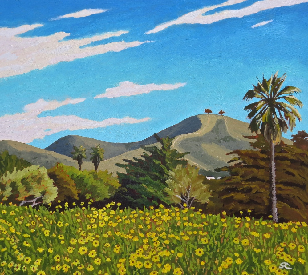 """San Buenaventura, Early Spring"" oil on masonite 18 x 20"