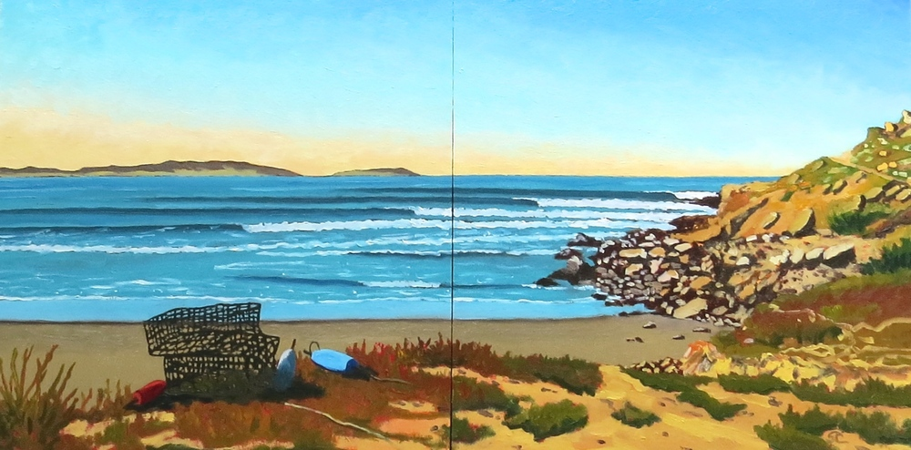 """Alejandro's Point"" oil on panels 16 x 32"