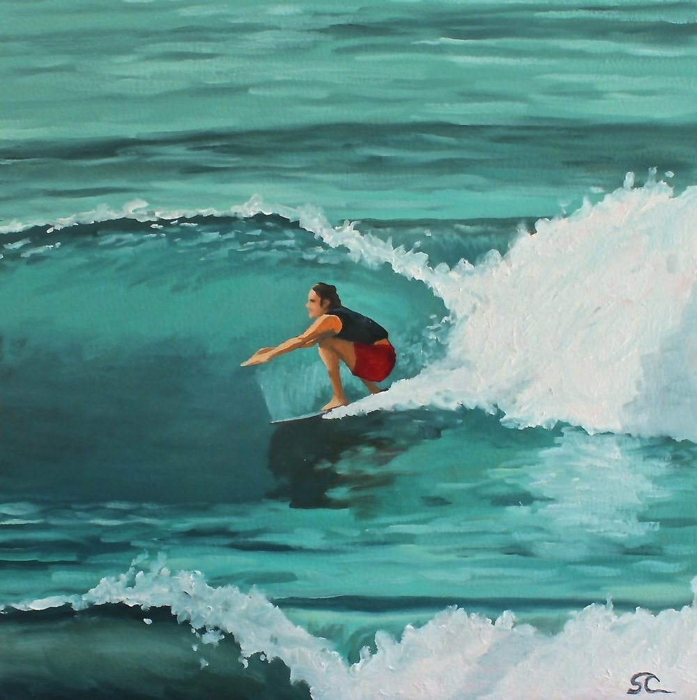 """Zolkover Surfing"" oil on panel 16 x 16"