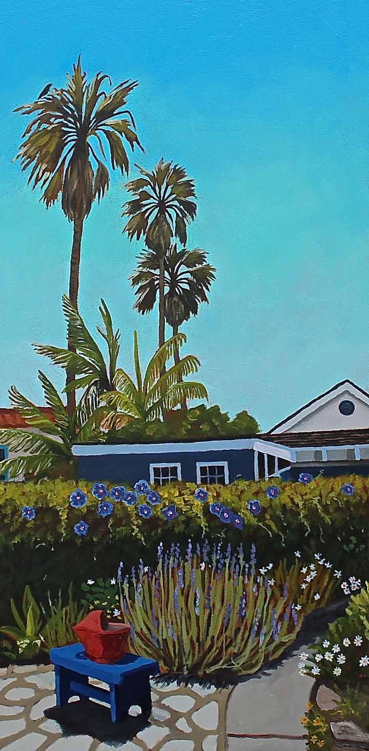 """""""Backyard Plein Air"""" oil on canvas 18 x 36"""