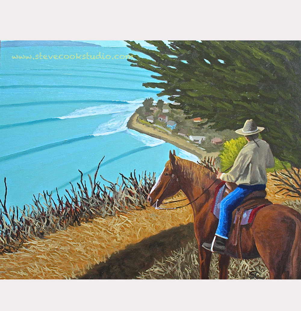 """Cowboy Surf Check"" oil on canvas 24 x 30"