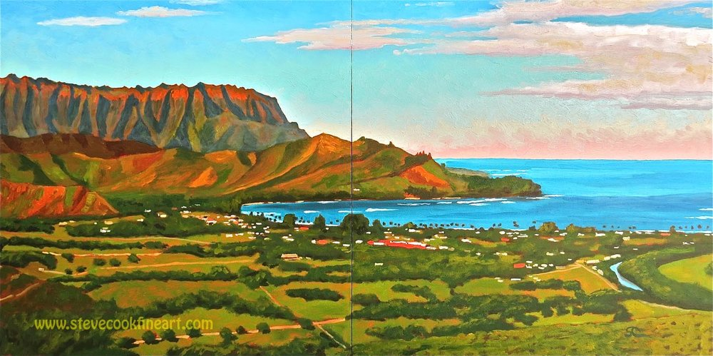 Hanalei Bay from Okolehao Ridge  oil on panel 20x40 diptych