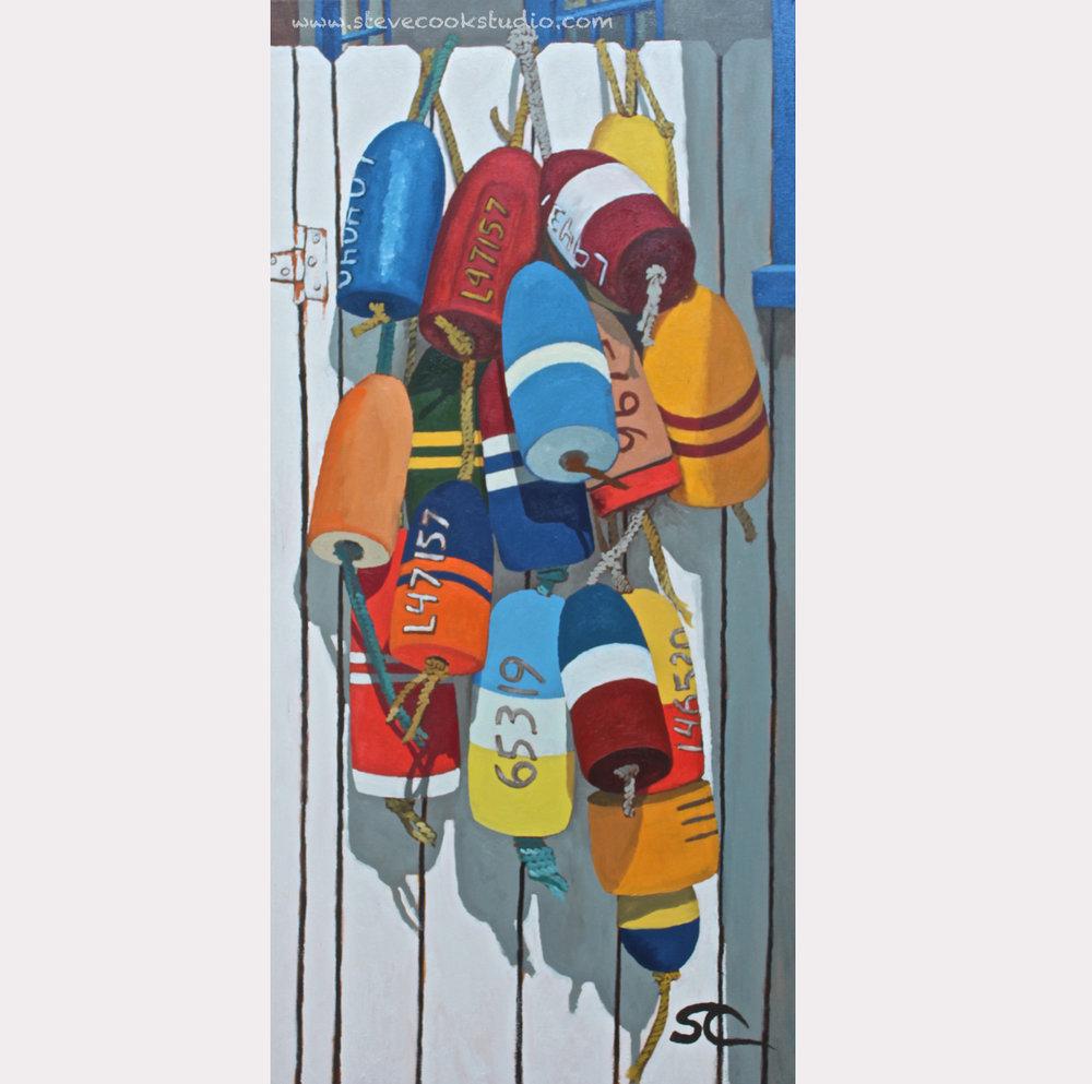 """""""Carol's Buoys"""" oil on canvas 18 x 36"""