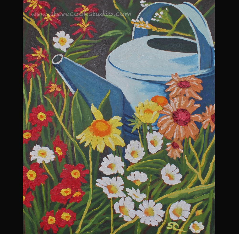 """Archie's Watering Can""  oil on canvas 20x24"