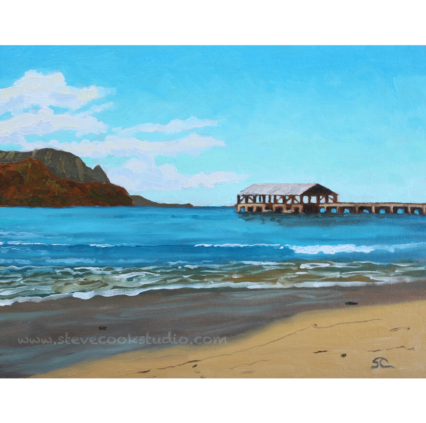 """Hanalei Pier"" oil on panel, 11x14"
