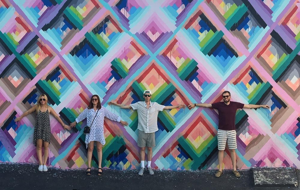 Justine, Lizzie, Myself and Jed being super touristy at the Wynwood Walls, Miami. The psychedelic colors resonated my retro rock vibes and summery sound.