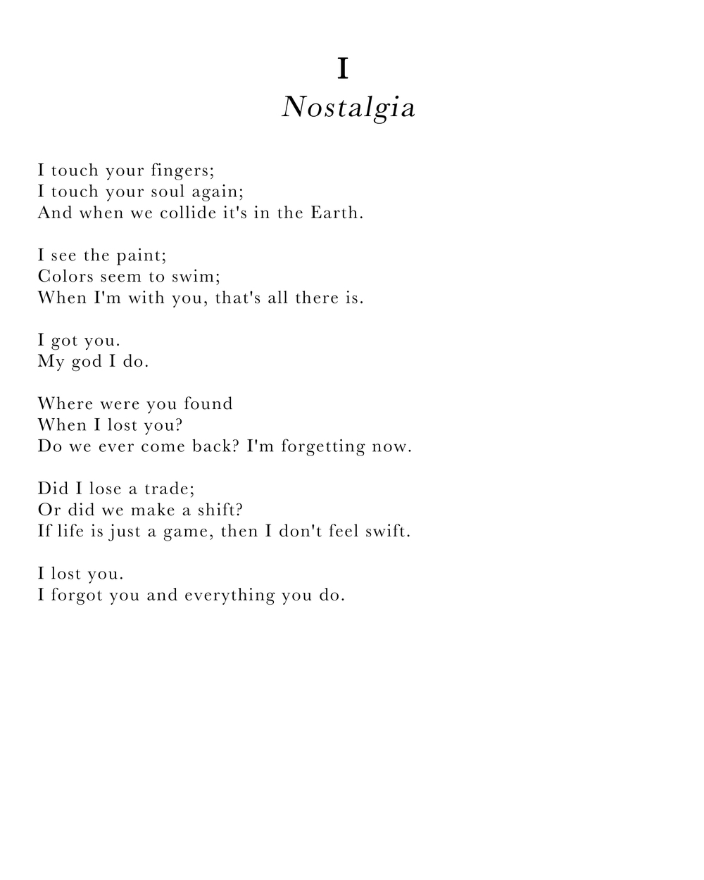 """Nostalgia"" lyrics as written in poem format."
