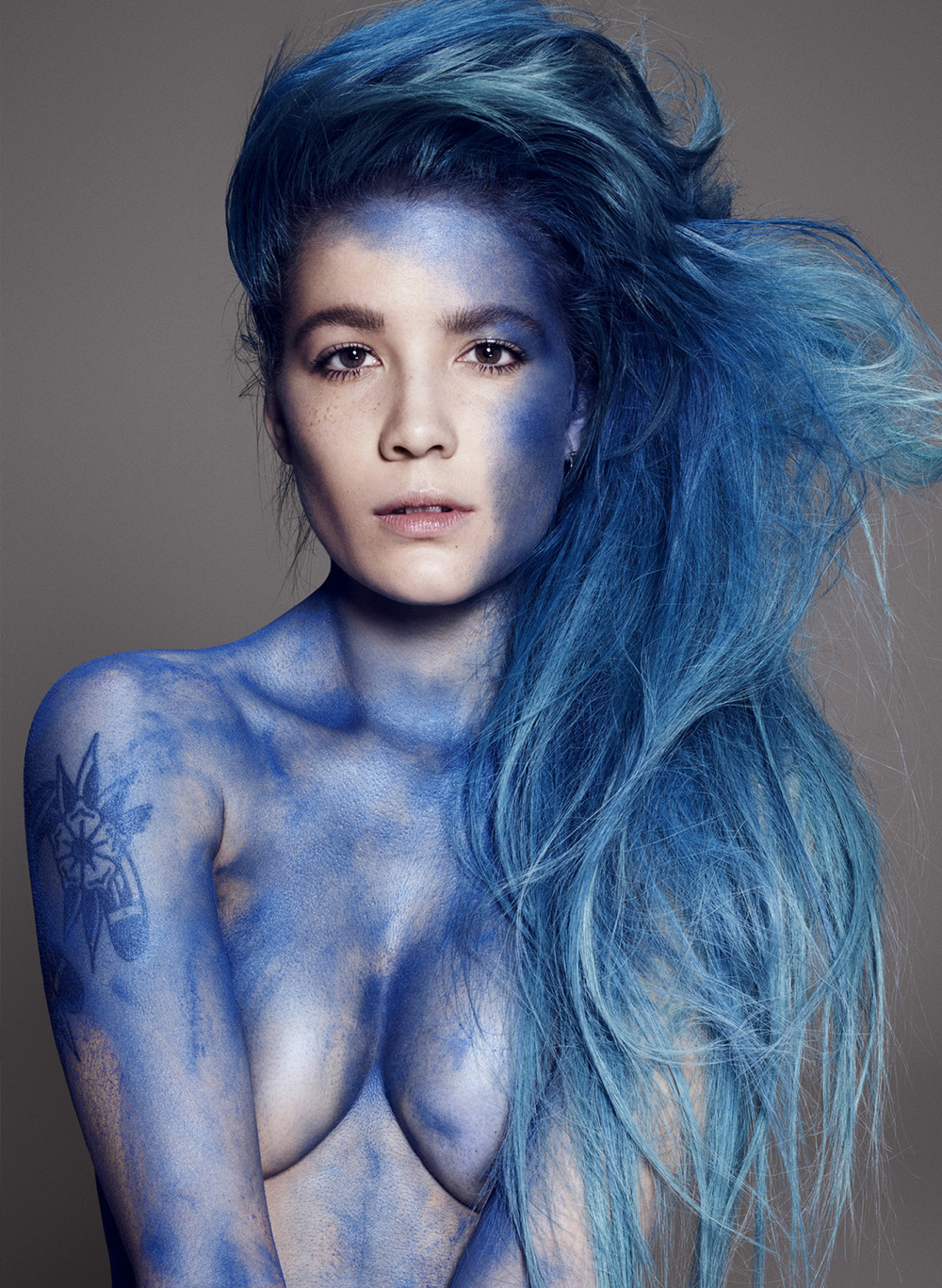 Halsey in a photoshoot for Elle magazine, where she first announced her Bipolar disorder.
