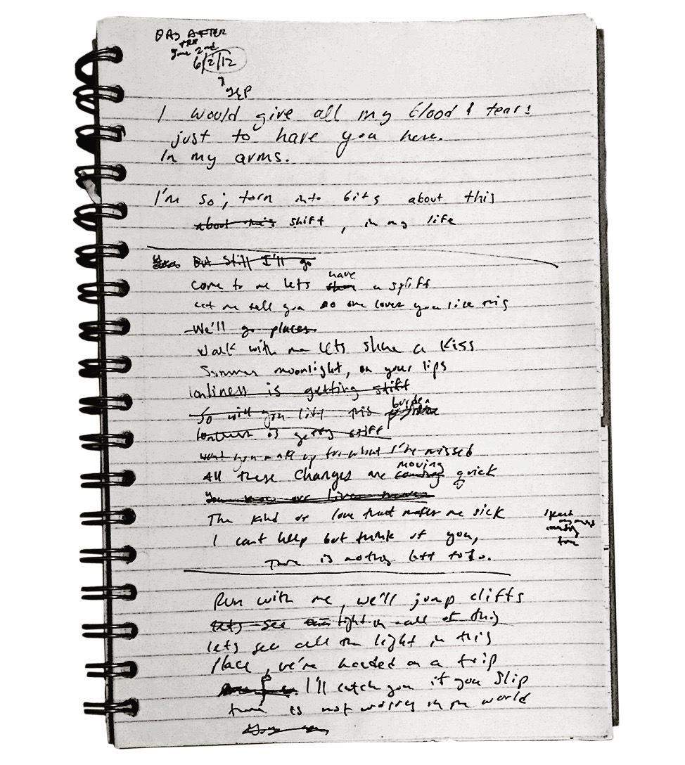"The lyrics of ""Blood and Tears,"" originally composed in June, 2012 (almost exactly four years ago)"