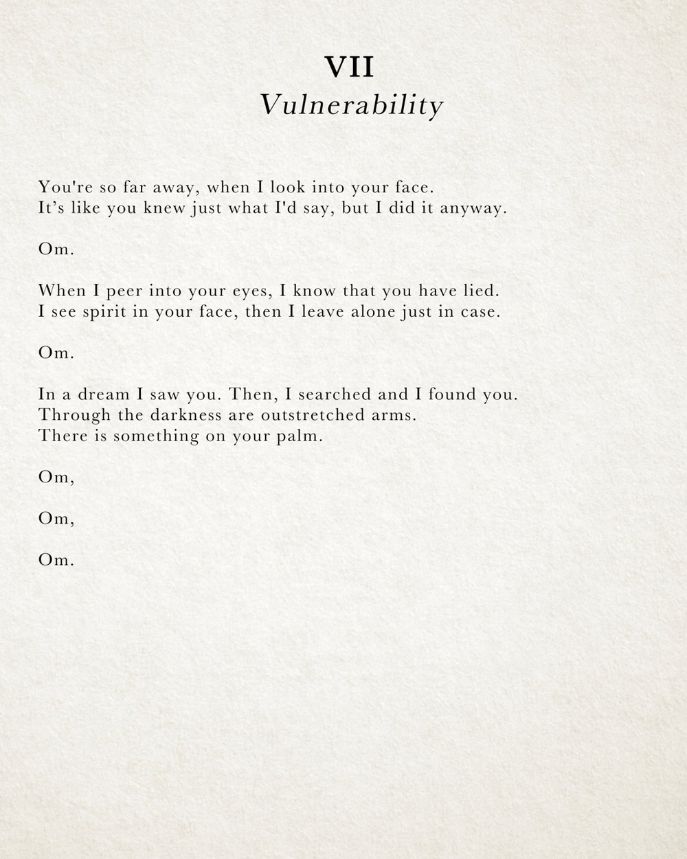 "The words of ""Vulnerability,"" formatted into a poem."