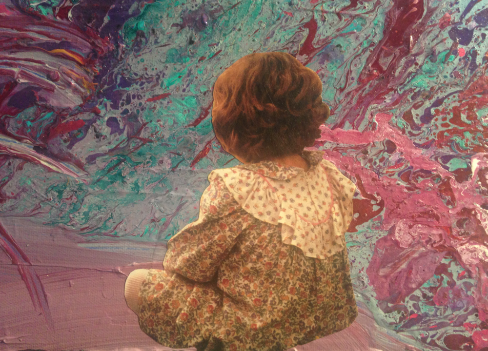 Close up detail from an original mixed-media painting: a child watches a world filled with, vibrant, psychedelic colors