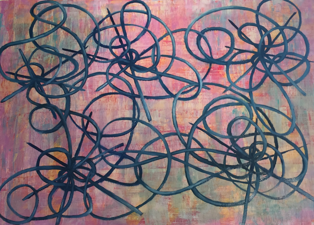This painting, featuring a multiplicity of revolving forms, exemplifies a fully-realized version of my meditations.