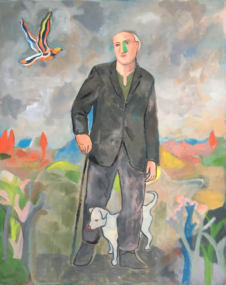 """The Wayfarer with His Cane,"" Sandro Chia, 2017 