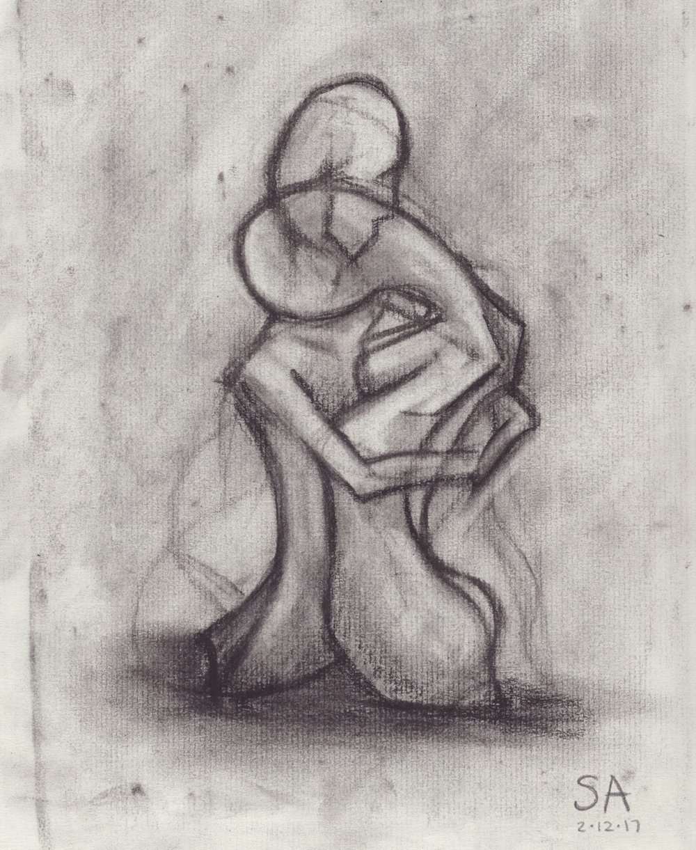 "Original charcoal drawing concept -- ""Intertwined No. 4"""