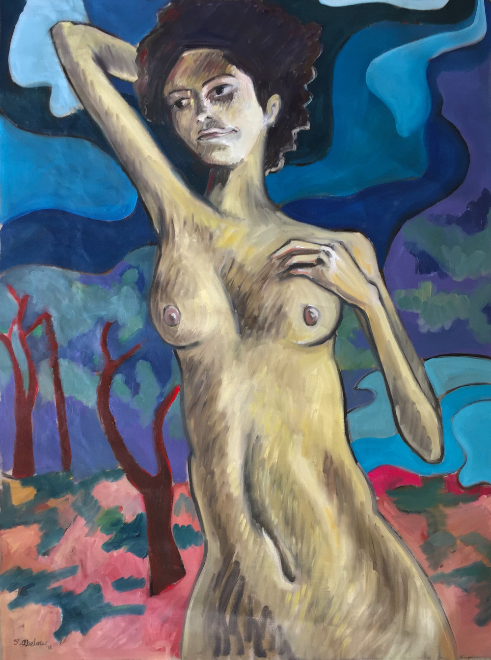To Lay With Aphrodite. Samuel Abelow, 2018.Oil paint on un-stretched linen canvas, 48x36,