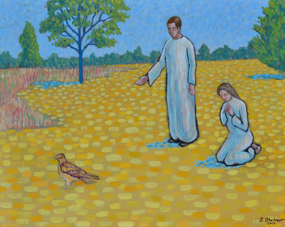 """Pastoral Scene: Encounter With a Hawk,"" Oil on linen, 24x30. Samuel Abelow, 2017."