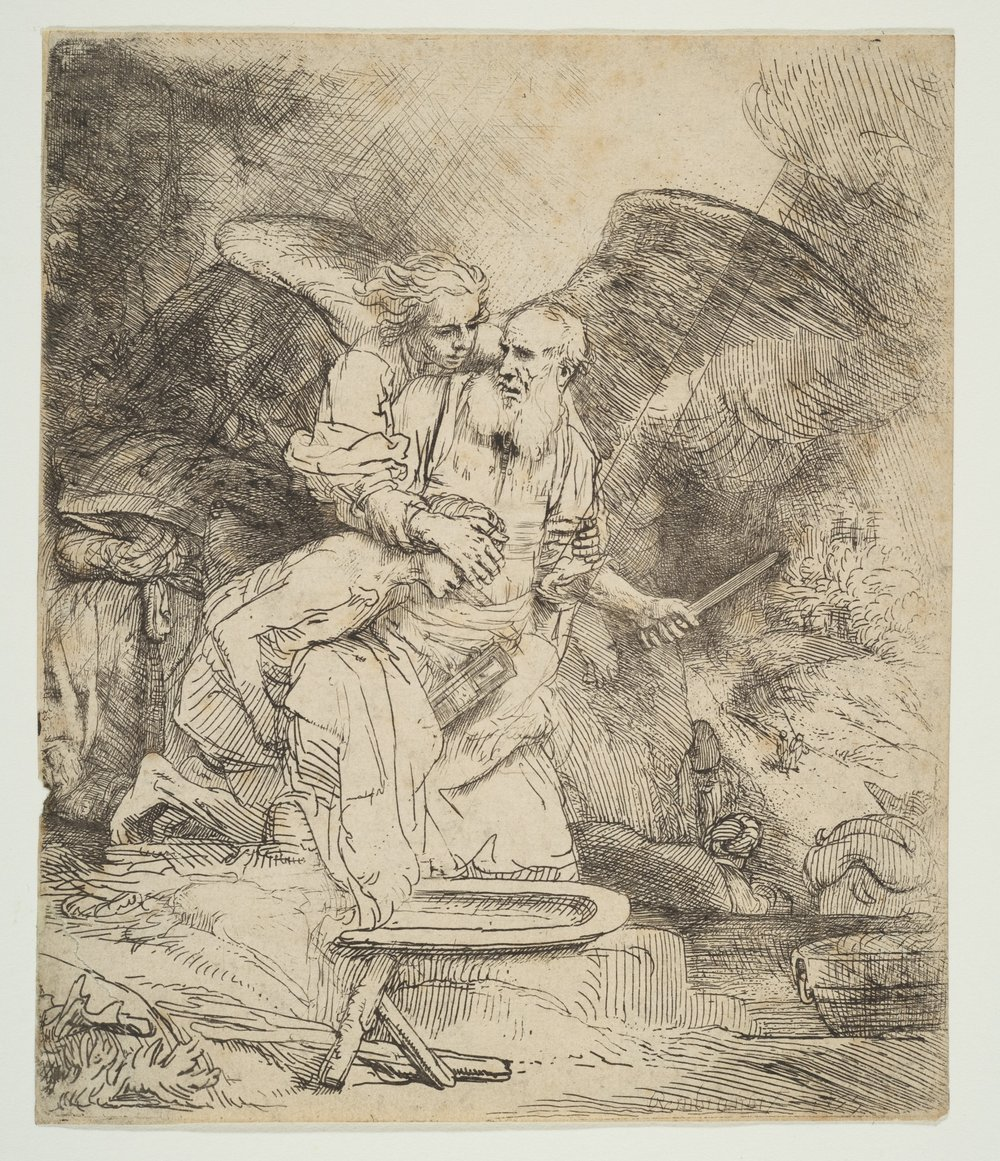 """Abraham's Sacrifice,"" Rembrandt, 1655. Picture via  https://www.metmuseum.org/art/collection/search/373081"