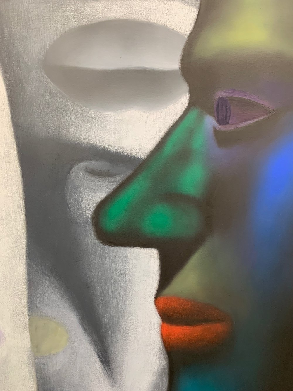 """""""Looking at a Painting,"""" Jordan Kasey. Oil on canvas, 65 1/2 x 85 inches, , 2018. Detail photographed by myself at the Nicelle Beauchene Gallery."""