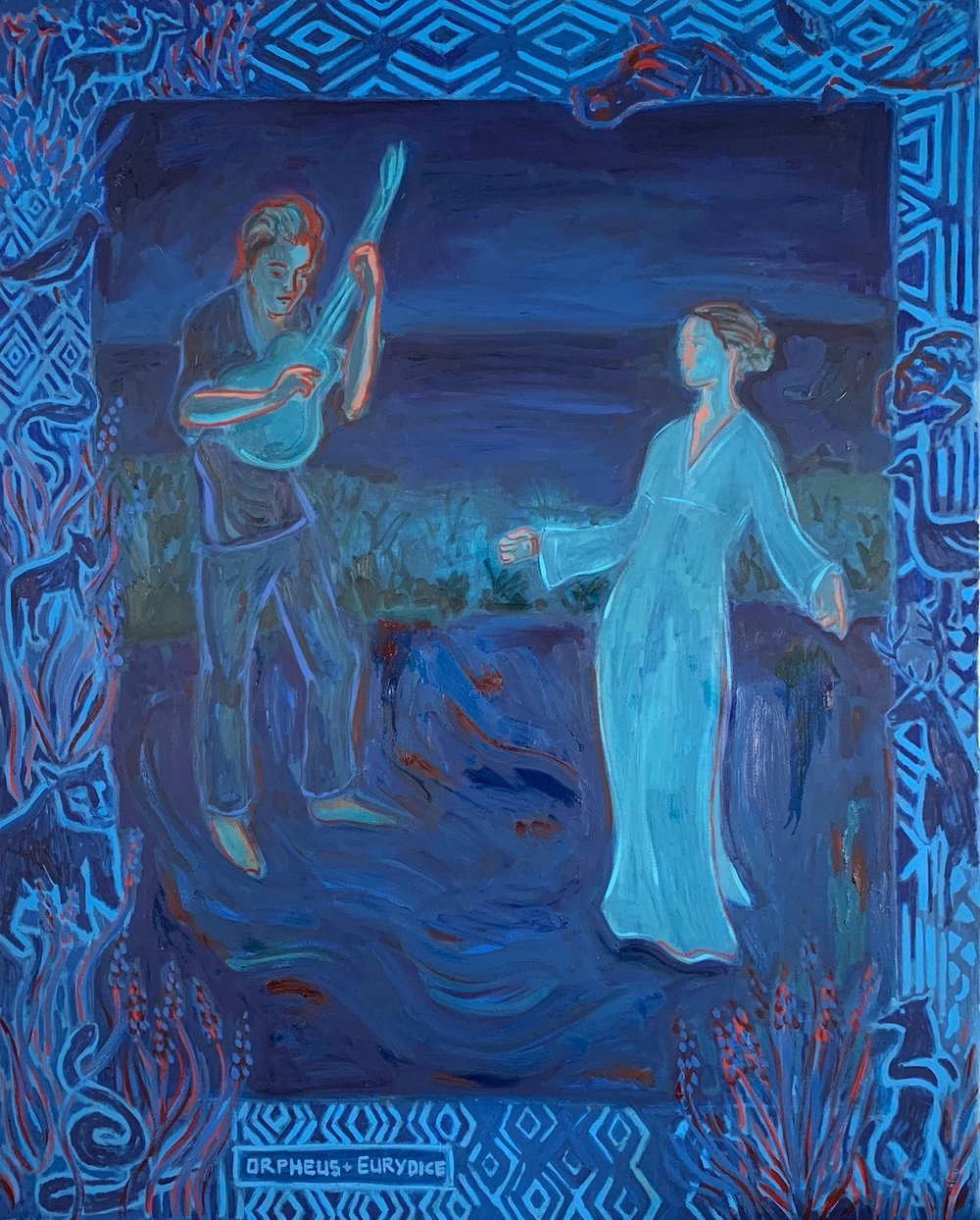 """""""Orpheus Sings for Eurydice"""" Oil paint on linen, 60 x 48 inches."""