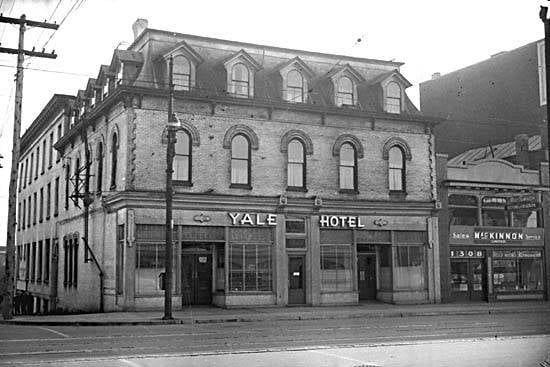 The Yale Hotel opened in 1889. Photo from CITY OF VANCOUVER ARCHIVES