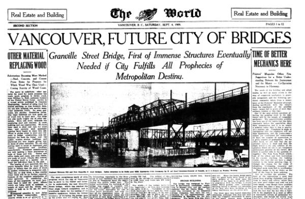 Sept. 4, 1909 Vancouver World story on the opening of the second Granville Bridge.