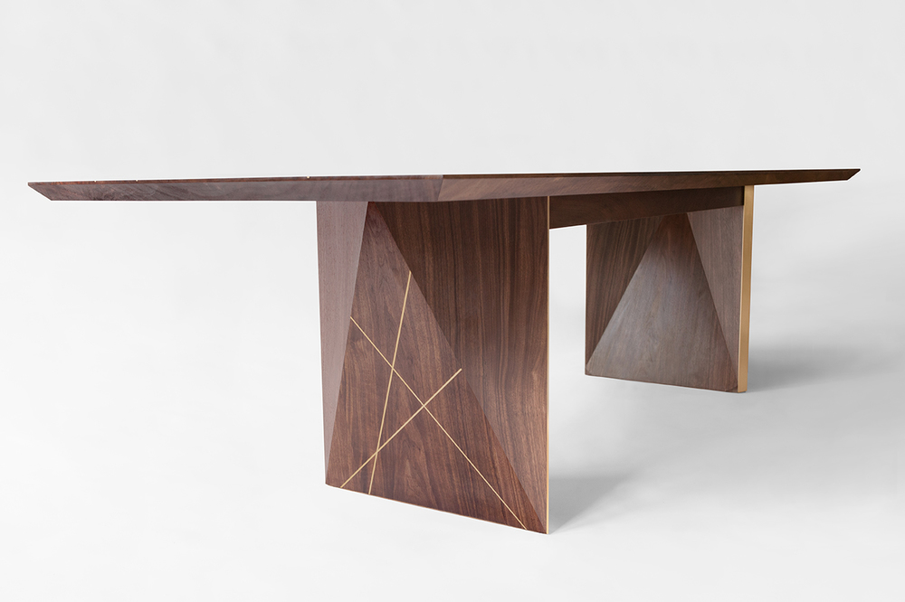 natural walnut tabletop, blackened walnut legs, solid brass // shown at 144 x 42 x 30 inches