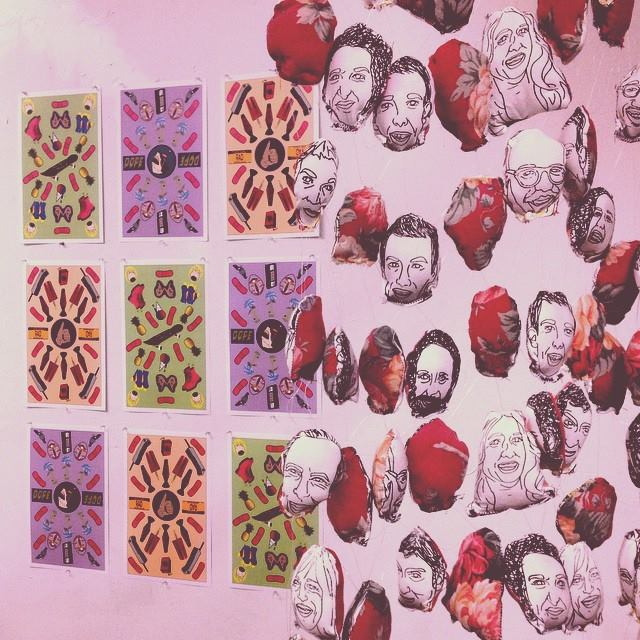"""Some Dope and Rad Shit"" (2014), and ""Familiar Faces"" (2014) on display at 13 Walls"
