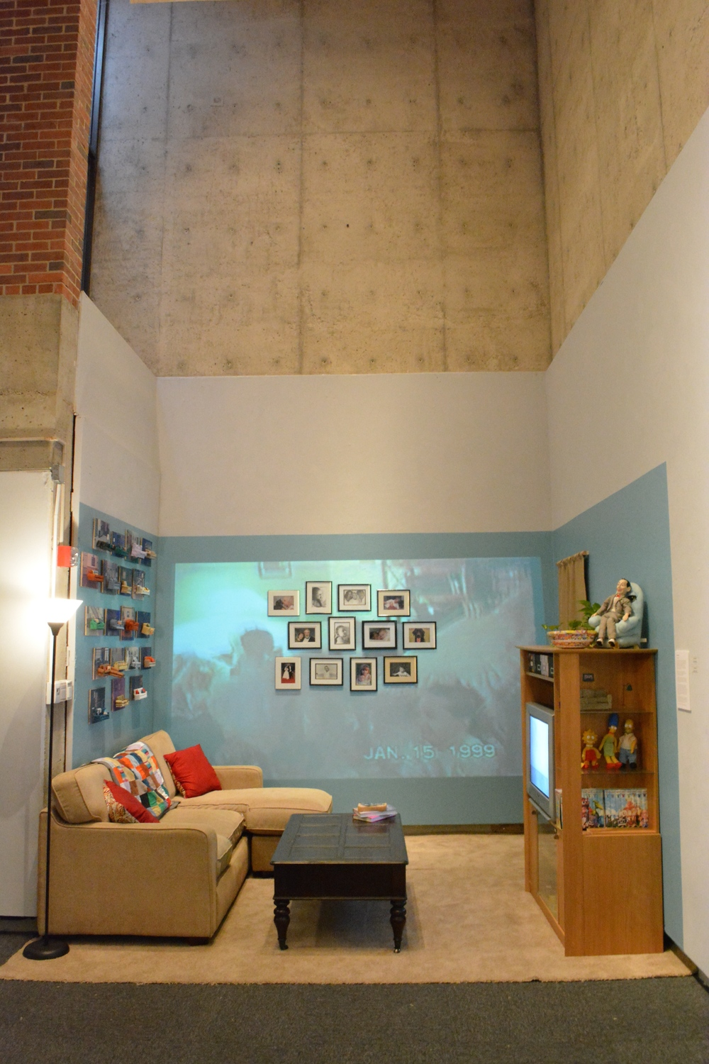 Life & Living Room , Cassidy Routh, Video, Installation, Screen print and soft sculpture, 2015  BFA Thesis Work Spring 2015, Florida State University Museum of Fine Arts