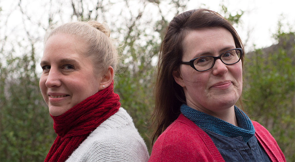 Mica & Jo - as you can see, modelling is not our forte! :-)