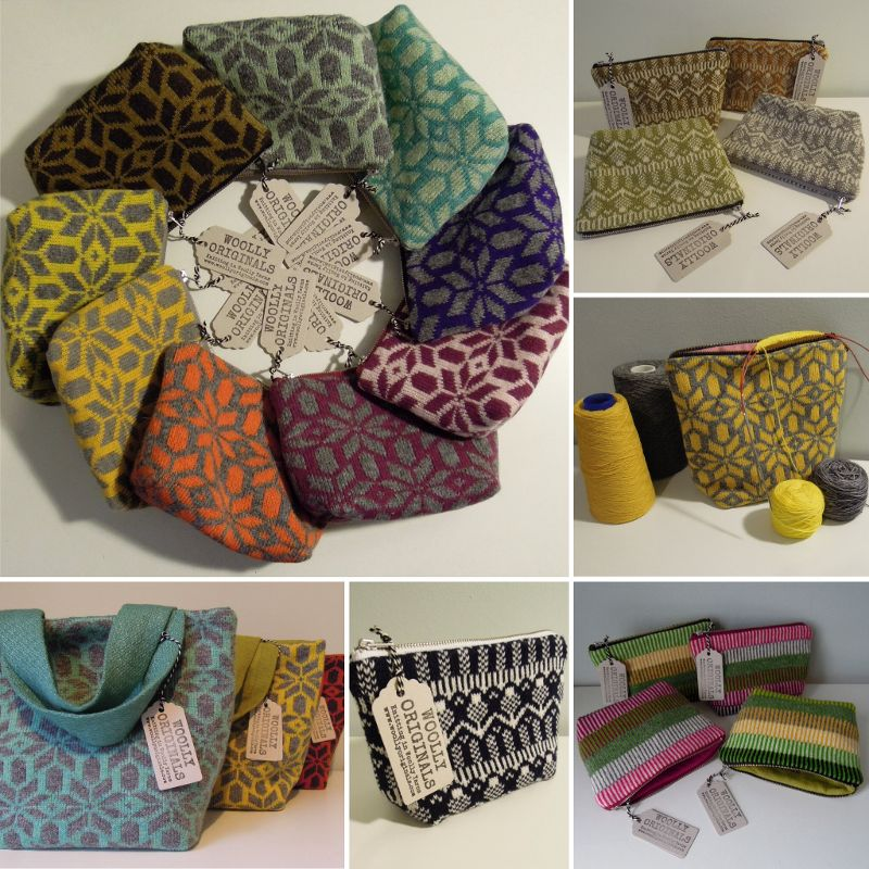 Woolly Originals: Based in Edinburgh I use a vintage knitting machine and wool from KnitRennie in Aberdeenshire or Jamieson's of Shetland, creating fabric to make into project and tool bags for knitters, crocheters and crafters.
