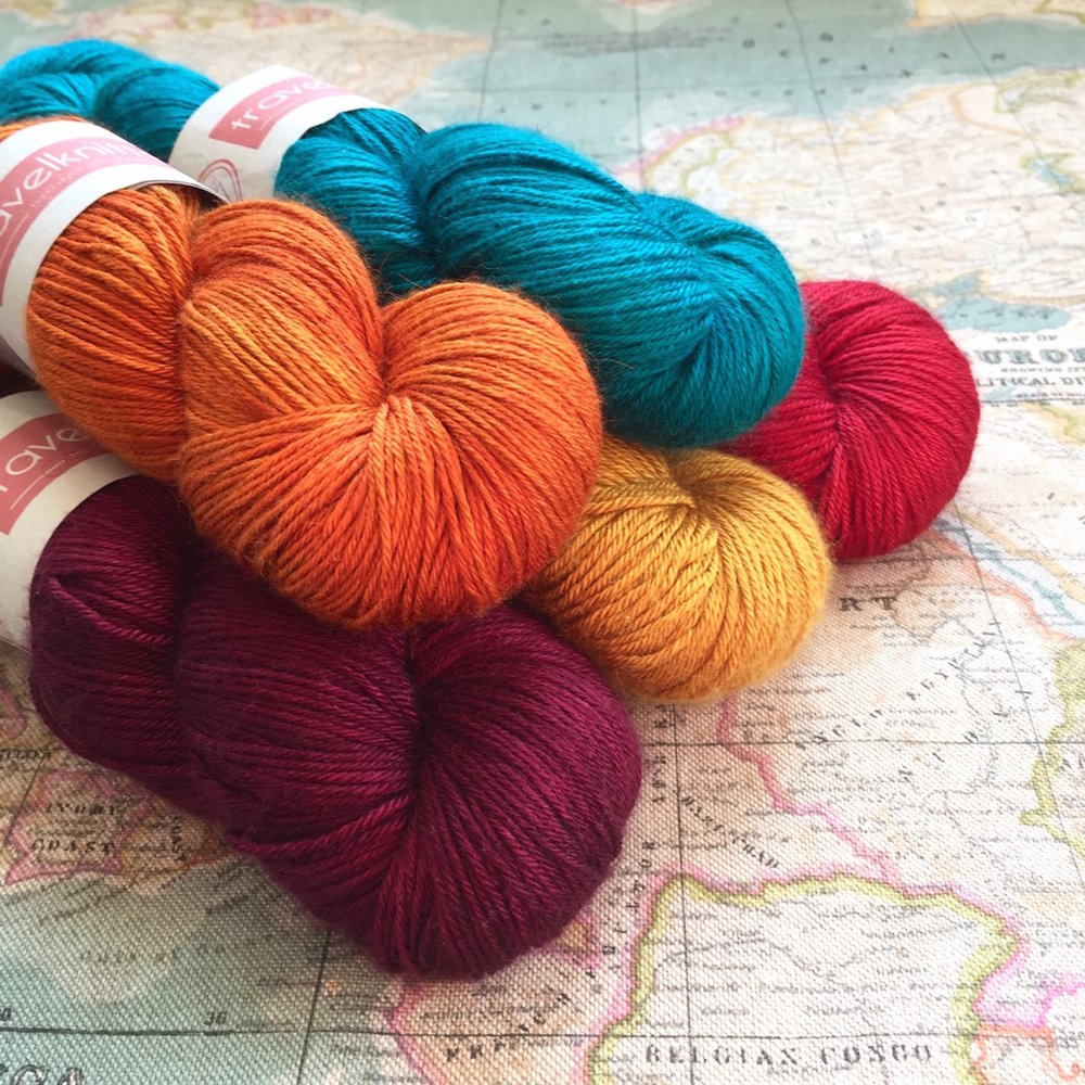 TravelKnitter: Inspired by adventures and travels, Travelknitter yarns are rich in jewel-like colour.  I'll be bringing plenty of my Tanami baby camel and silk, as well as new bases and an EYF exclusive colourway.