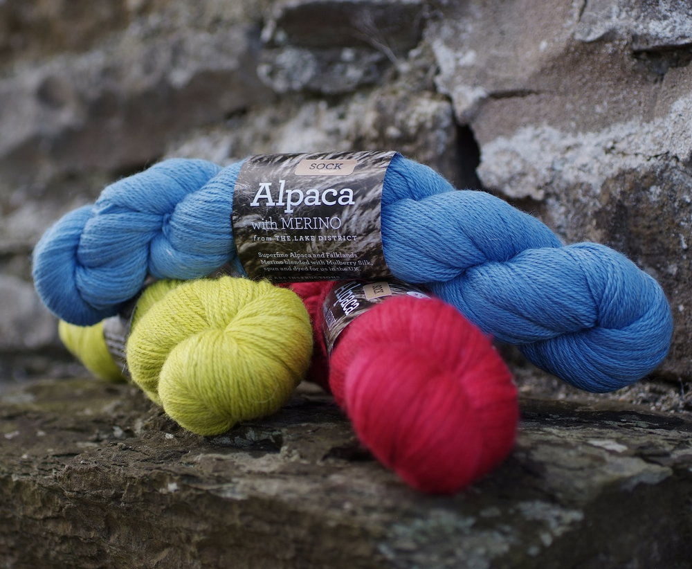 Town End Alpacas: Alpaca with Merino and Silk is custom spun for us from Peruvian alpaca, superfine, organic Falklands Merino wool and Mulberry silk.  This luxurious DK and Sock weight yarn is dyed many beautiful colours in Scotland.